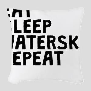Eat Sleep Waterski Repeat Woven Throw Pillow