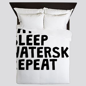 Eat Sleep Waterski Repeat Queen Duvet