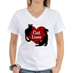Fat Cat & Cat Lover Women's V-Neck T-Shirt