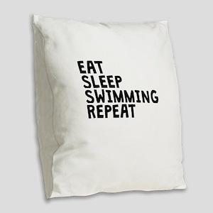 Eat Sleep Swimming Repeat Burlap Throw Pillow