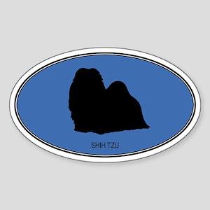 Shih Tzu (oval-blue) Oval Sticker