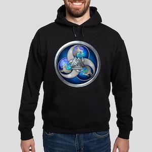 Blue Norse Triple Dragons Hoodie (dark)