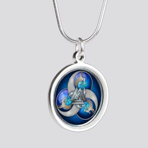 Blue Norse Triple Dragons Silver Round Necklace