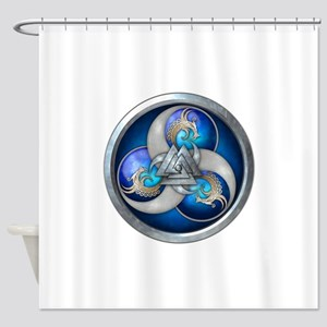 Blue Norse Triple Dragons Shower Curtain