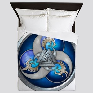 Blue Norse Triple Dragons Queen Duvet