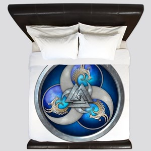 Blue Norse Triple Dragons King Duvet