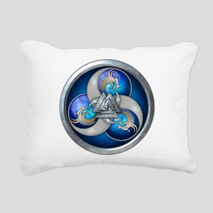Blue Norse Triple Dragon Rectangular Canvas Pillow