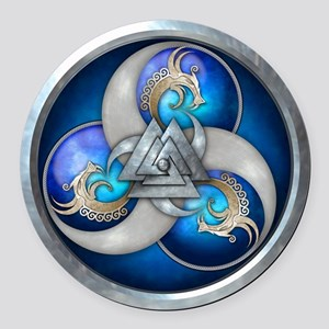 Blue Norse Triple Dragons Round Car Magnet