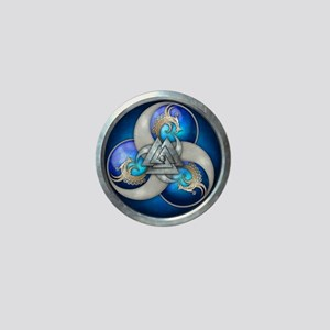 Blue Norse Triple Dragons Mini Button