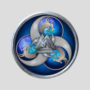 "Blue Norse Triple Dragons 3.5"" Button"