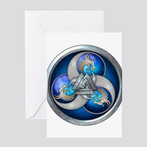 Blue Norse Triple Dragons Greeting Card