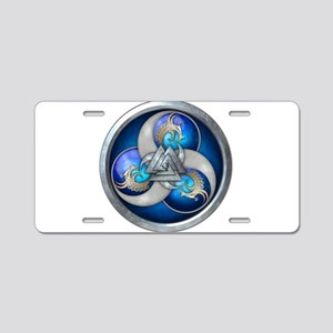 Blue Norse Triple Dragons Aluminum License Plate