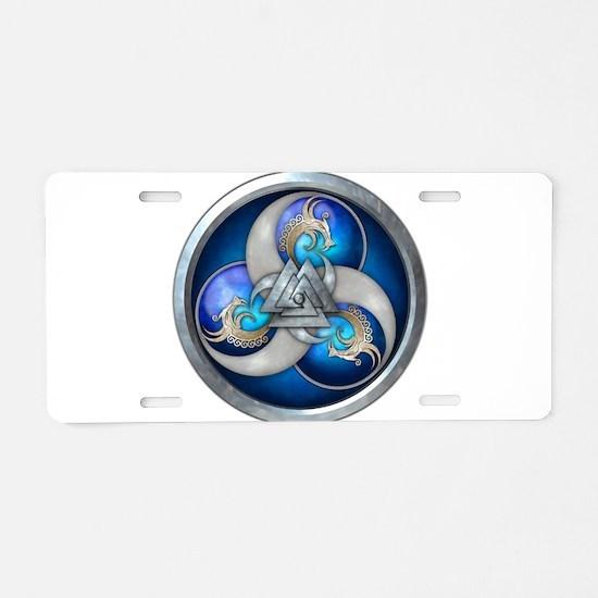 Blue Norse Triple Dragons Aluminum License Plate