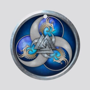 Blue Norse Triple Dragons Ornament (Round)