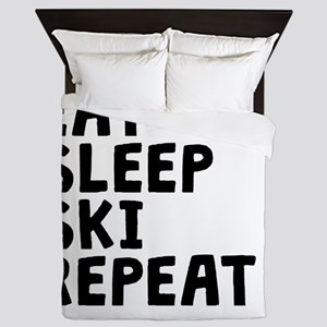 Eat Sleep Ski Repeat Queen Duvet
