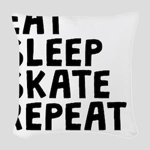 Eat Sleep Skate Repeat Woven Throw Pillow