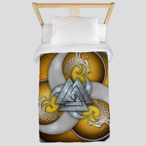 Yellow Triple Norse Dragon Shield Twin Duvet