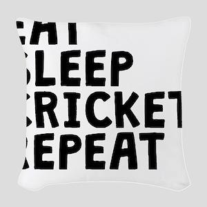 Eat Sleep Cricket Repeat Woven Throw Pillow