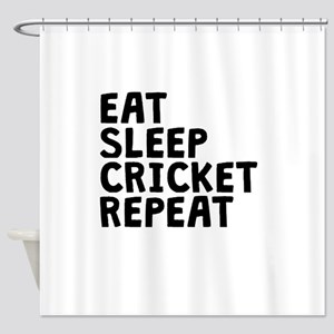 Eat Sleep Cricket Repeat Shower Curtain