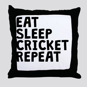 Eat Sleep Cricket Repeat Throw Pillow