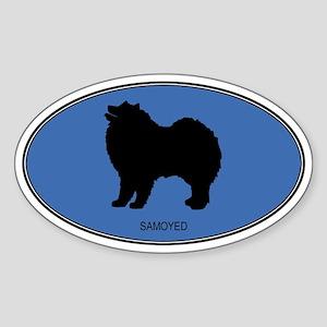 Samoyed (oval-blue) Oval Sticker