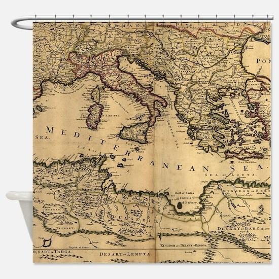 Vintage Map of The Mediterranean Se Shower Curtain