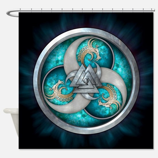 Teal Norse Triple Dragons Shower Curtain