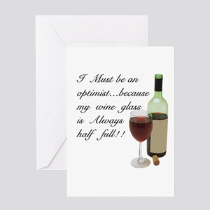 Wine Glass Half Full Optimist Greeting Card