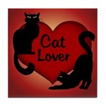 Fat Cat & Cat Lover Tile Coaster