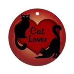 Fat Cat & Cat Lover Round Ornament