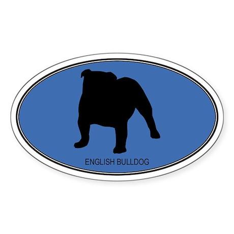 English Bulldog (oval-blue) Oval Sticker