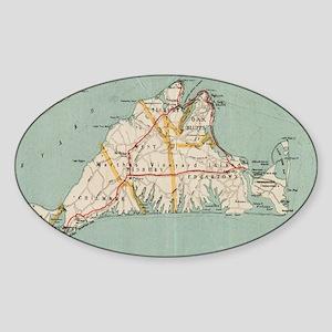 Vintage Map of Martha's Vineyard (1917) Sticker
