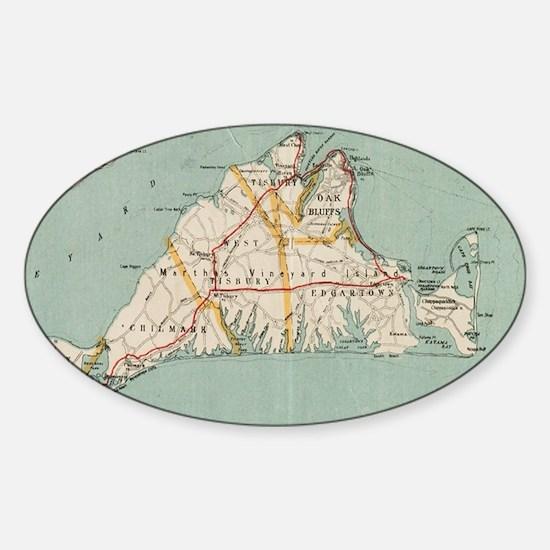 Vintage Map of Martha's Vineyard (1917) Decal