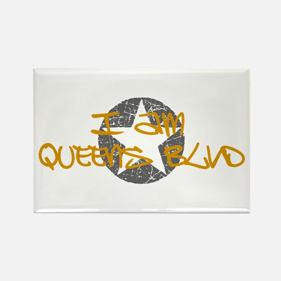 I am Queens Blvd - Gold Rectangle Magnet