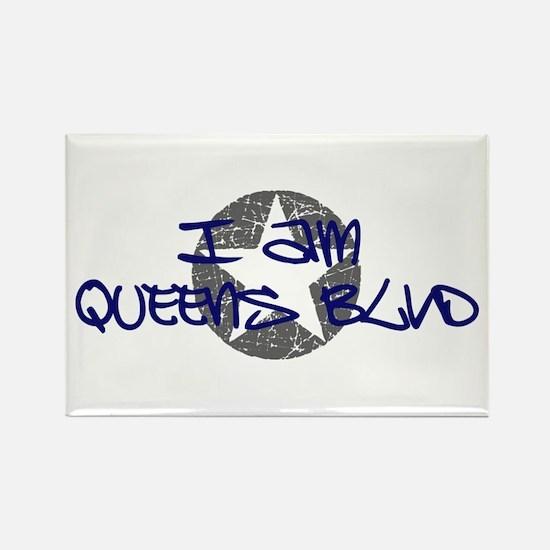 I am Queens Blvd - Blue Rectangle Magnet