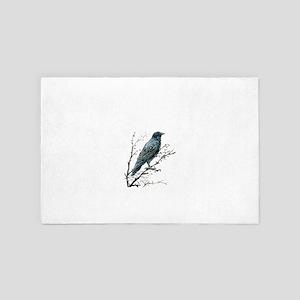 Watercolor Crow Bird 4' x 6' Rug