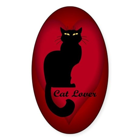 cat lover Sticker (Oval)
