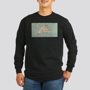 Vintage Map of Martha's Vineya Long Sleeve T-Shirt