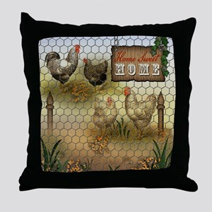 Home Sweet Home Chickens and Roosters Throw Pillow