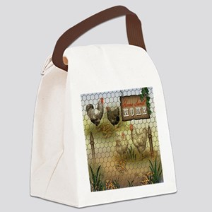 Home Sweet Home Chickens and Roos Canvas Lunch Bag