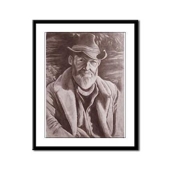 Cowboy Sketch Framed Panel Print