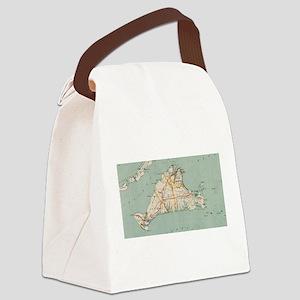 Vintage Map of Martha's Vineyard Canvas Lunch Bag