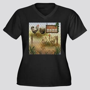 Home Sweet Home Chickens and Roo Plus Size T-Shirt