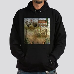 Home Sweet Home Chickens and Rooster Hoodie (dark)