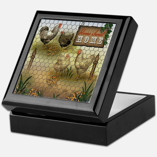 Home Sweet Home Chickens and Roosters Keepsake Box