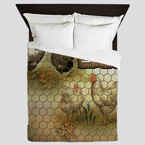 Home Sweet Home Chickens and Roosters Queen Duvet