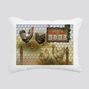Home Sweet Home Chickens Rectangular Canvas Pillow