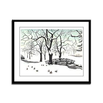 Winter Landscape Painting Framed Panel Art Print
