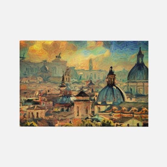 Rome Skyline - Impasto Painting Magnets