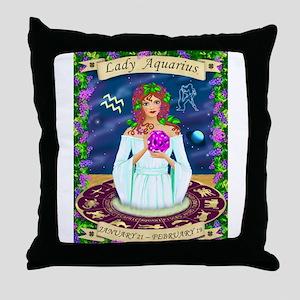 Lady Aquarius Throw Pillow